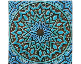 Moroccan wall hanging made from ceramic, Moroccan decor, Moroccan wall art, Moroccan tile, ceramic tile, garden art, moroc2, turquoise, 30cm