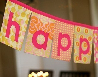 Happy Birthday Fabric Banner in Pink Cottons