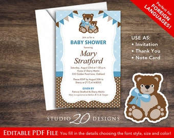 Bear baby shower etsy instant download blue teddy bear baby shower invitations editable pdf diy 4x6 printable teddy bear invitation for boy autofill enabled 40a filmwisefo