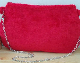 Plush bag, plush clutch, red clutch, red bag, red purse, red plush bag, chain bag, plush handbag, soft bag, fur bag, fur clutch, kawaii