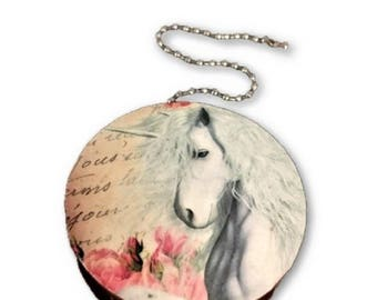 Unicorn and Roses Round Wood Fan / Light Pull