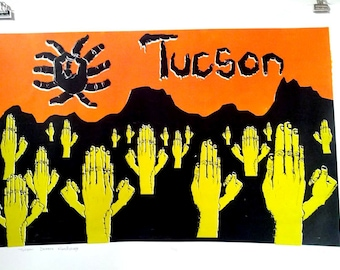 Tucson Desert Screenprint Poster / orange green black white / 26 x 18.5