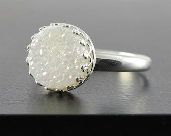 10mm White Druzy Ring Sterling Silver - Round Quartz Ring Druzzy -  Bezel Set Ring - Drusy Quartz - Crown Bezel Ring