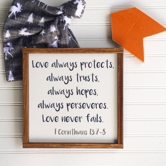 Bible Verse Nursery Sign . Love always protects . Scripture Sign . Nursery Sign . 1 Corinthians . Baby Boy . Woodland Nursery . Big Boy Room