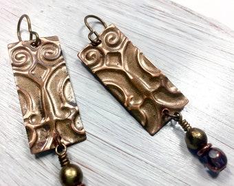 Boho Long Earrings, Textured Copper Earrings, Dangle and Drop Earrings