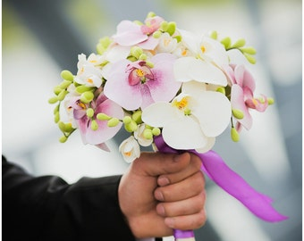 Wedding bouquet and boutonniere set, Clay bouquet with orchids and white freesias, Natural look bouquet