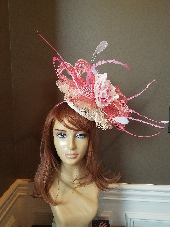 182e23f0de1 ... promo code for gorgeous kentucky derby hat fascinator light pink and  white e6e3a f6d57 ...