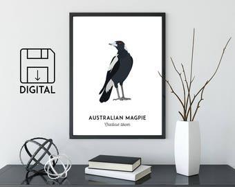 Magpie print, printable bird print, bird art, animal print, Australian native wall art, Australian wildlife, nursery prints, nursery art