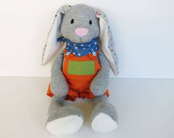 Handmade plush toy//sock animal//Stoffhase made of cotton with dungarees//gift for children