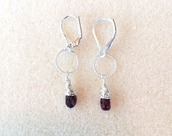 Garnet Earrings with Leverback Earwires