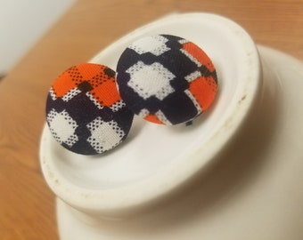 "Black and White and Orange All Over Plaid Fabric-Covered Button Earrings, Pixelated Earrings, Plaid Earrings, Halloween, Princeton (7/8"")"