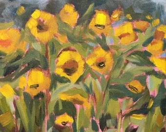 """Contemporary Sunflowers, Plein Air 8"""" x 10"""" original oil painting study by Laurie Rubinetti, yellow, green, blue, landscape, summer,"""