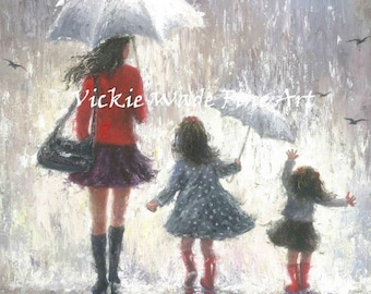 Mother and Two Daughters Art Print, two girls, mothers day gift, redhead girls, wall art, two sisters, umbrellas, mom, Vickie Wade art