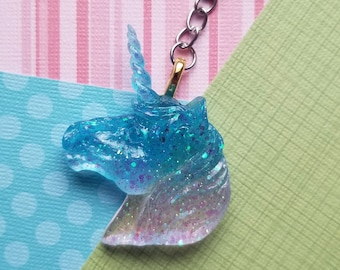 Cute Handmade Unicorn Resin Pastel Goth Fairy Kei Keychain in Multiple Colors