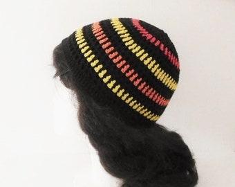 Women's hat in black, red, orange and yellow organic cotton, hand crocheted