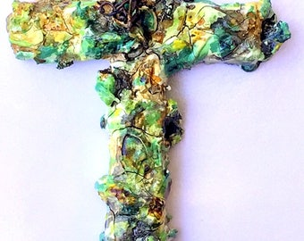 handmade wood and plaster cross, painted wall art, wall collage, mint green