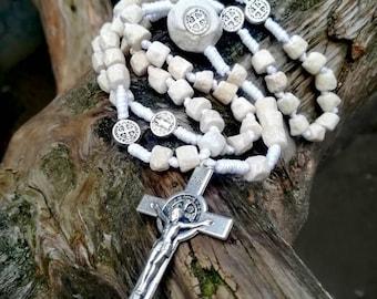 Handmade Medjugorje stone rosary, St Benedict rosary, catholic rosary beads, catholic gift, 5 decade rosary, baptism gift, wearable rosary