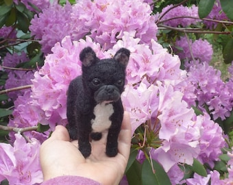 Felt Miniature of your Pet /Custom Pet Portrait / Needle Felted Dog /handmade by Gourmet Felted /example French Bulldog / Personalized  Gift