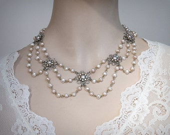 Vintage Pearl Bridal Necklace Champagne Necklace Wedding pearl Necklace Floral Wedding Rhinestone Necklace Victorian Wedding Silver Flower