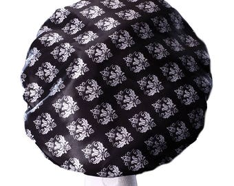 Damask XL Luxury MICROFIBRE Lined Extra Large Shower Cap Waterproof Bath Hat Bouffant Hair Accessory Adults / Teens