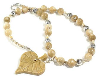 Necklace Shell Agate Necklace Tan Necklace Beaded necklace OOAK Design Necklace Handmade Jewelry