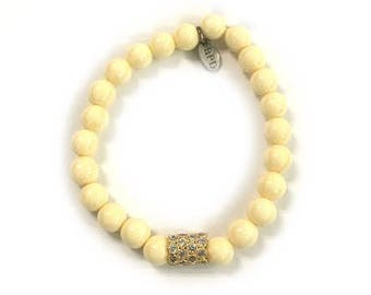 SALE 8mm Pave Bracelet | Cream (Long)