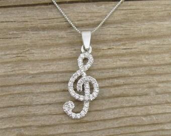 Diamond Pendant, Treble Clef Diamond  Pendant,  Diamond necklace, Designer 14k gold music note necklace, Gold and Diamond Pendant,