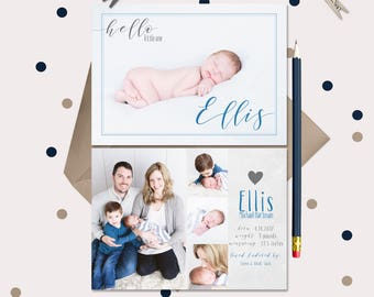Hello Baby Announcement · Gray & Blue Photo Birth Announcement · 2 sided card with 5 photos