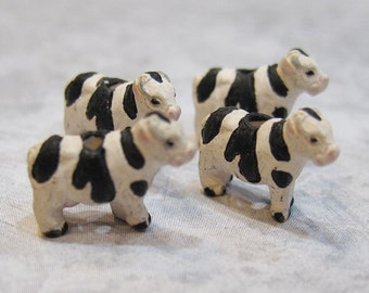 One Black and White Holstein Cow Tiny Peruvian Ceramic Cow Bead 13mm