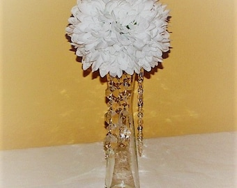 "5""D Wedding Pomander Ball centerpiece silk flower with Crystals wedding flower ball arrangement wedding kissing ball silk flower centerpiece"