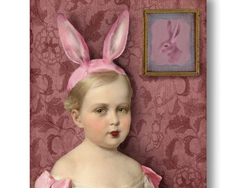 Pink Bunny Girl Portrait Print Digital Art Pink Surreal Home Decor Rabbit Hare