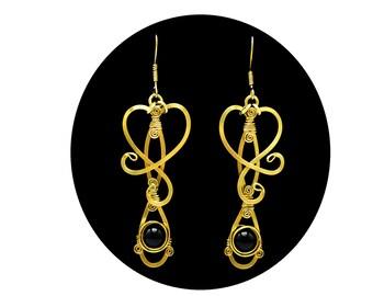 Brass Earrings, Black Earrings, Dangle Earrings, Wire Wrap Earrings, Gold Earrings, Long Earrings, Vintage Earrings, Elegant Earrings