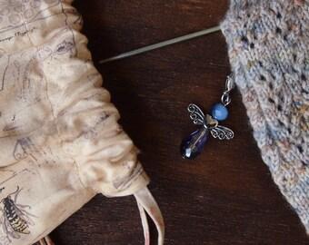 Knitting Progress Keeper - ANGEL Stitch Marker -  Crochet Stitch Marker - Silver Charm - Snag Free Knitting Stitch Marker  Charm Jewelry