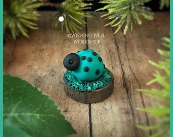 Polymer Clay Teal Ladybug A, Ladybug, Ladybug Miniature, Garden Decor, Fairy Garden