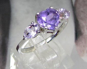 Silver Amethyst ring, women size 60, jewel and sterling silver gemstone violets, birthday gift for them