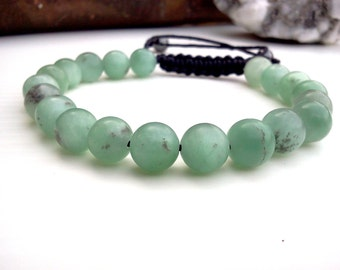 Jade bracelet, Mens bracelet, Green Jade bracelet, Men's Gemstone bracelet, Waxed cord bracelet, Men Jewelry, Cotton cord bracelet, Macrame