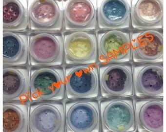 SAMPLES YOU 4 PICK Organic Beauty Minerals Vegan All Natural Gluten Free Eye Lips Nails