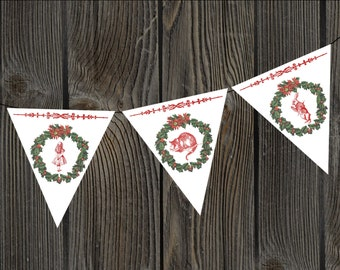 Alice in Wonderland Christmas Wreath Bunting
