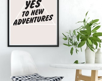 Modern Adventure PRINTABLE, Typography Printable, Type wall art, Contemporary Home Decor, Large Scale Artwork, Hipster Art, New Home Gift