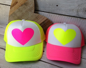Neon Heart Trucker Hat, Cute Trucker Hat, Girl Trucker Hat, Womens Trucker Hat, Cute Girl Hat, Pink Trucker Hat, Cute Hat **ON SALE**