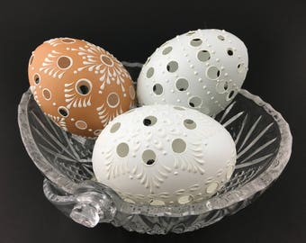 Polish Pysanky Eggs in Natural White, Green and Brown, Easter Eggs, Set of 3 Traditional Slavic Carved and Wax-Embossed Eggs