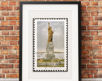 Statue Of Liberty Postage Stamp Style Print