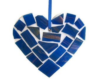 Small Blue Mosaic Heart