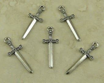 Knight Sword Charms / Excalibur Broad Ornate Hilt Warrior Caledfwlch Unfinished American Made Lead Free Silver Pewter I ship internationally