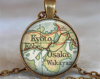 Kyoto map necklace Osaka map jewelry Kyoto necklace Osaka Japan necklace map pendant travel jewelry gift for traveler key chain key ring fob