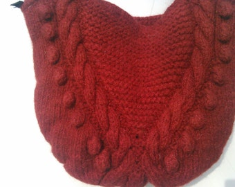 sacs tricotés en laine naturelle de couleur Bordeaux