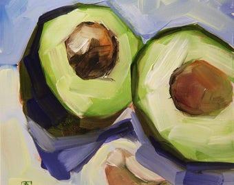 Still life with avocado, original oil painting, boba painting