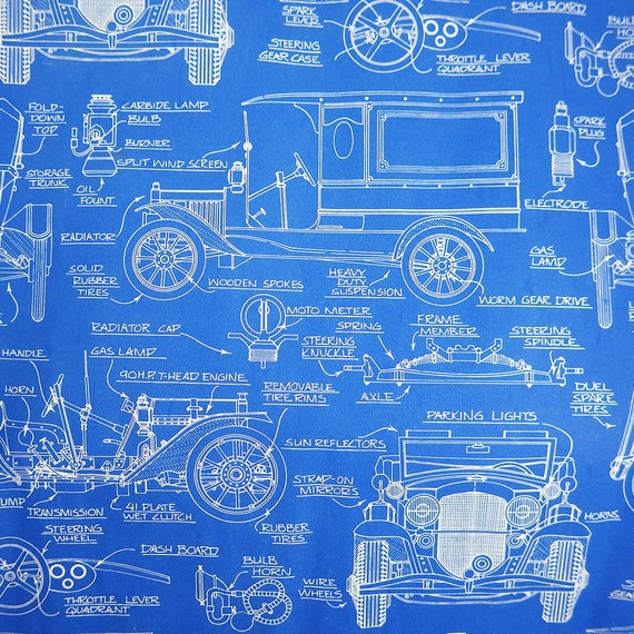 Unique Vintage Car Blueprint Gift Wrapping Paper, Great Gift Wrap or ...