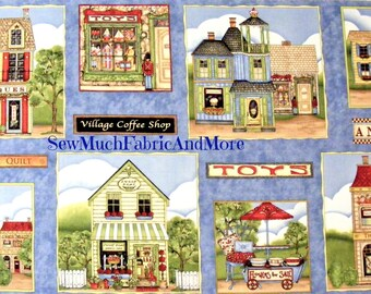 """My Hometown Fabric Panel~23""""x44""""~South Sea Imports~Quilt Shop~Toys~Coffee Shop~Garden Shop~Flower Cart~Antique Store~Bakery~School"""