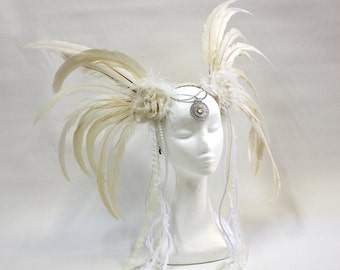White Goddess Feather Headpiece By ShapeShifters